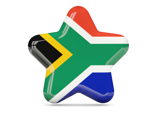 glossy star flag of South Africa